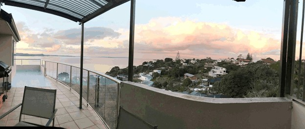 Claire's incredible view from her home in Auckland