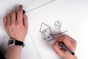 drawing house using pen