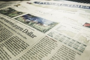 stocks on newspaper